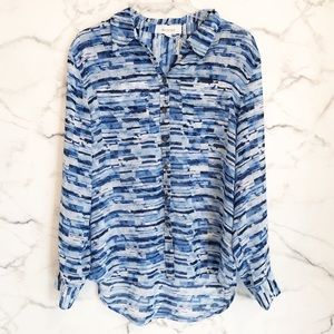 Two By Vince Camuto Blue & White Sheer Blouse